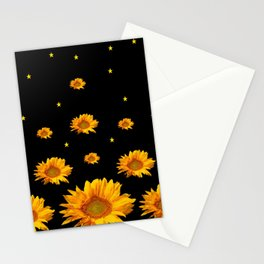 GOLDEN STARS YELLOW SUNFLOWERS  BLACK COLOR Stationery Cards