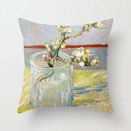 Vincent van Gogh - Sprig Of Flowering Almond In A Glass - Digital Remastered Edition Throw Pillow