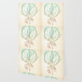 Desert Cactus Dreamcatcher Turquoise Coral Gradient Wallpaper