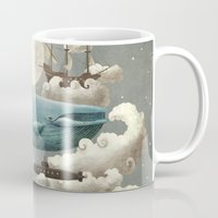 solid color Mugs featuring Ocean Meets Sky by Terry Fan