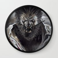 werewolf Wall Clocks featuring Werewolf by Jeff B. Harris