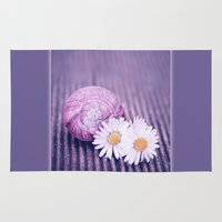 daisies Area & Throw Rugs featuring DAISIES by INA FineArt