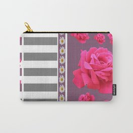 MODERN  PINK ROSES ON PUCE COLOR ART Carry-All Pouch