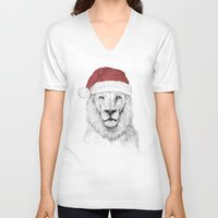 santa V-neck T-shirts featuring Santa lion by Balazs Solti