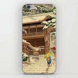 Asano Takeji Snow In Yuki Shrine Vintage Japanese Woodblock Print East Asian Beautiful Art iPhone Skin