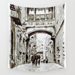 Carrer del Bisbe - Barcelona Black and White Wall Tapestry