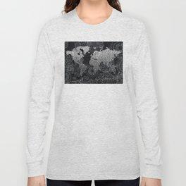 world map mandala black and white 3 Long Sleeve T-shirt