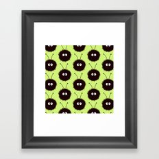 Green Cute Dazzled Bugs Pattern Framed Art Print