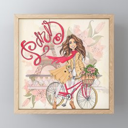 Beautiful Girl On A Bicycle In Paris Framed Mini Art Print