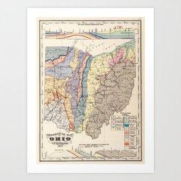 Vintage Geological Map of Ohio (1872) Art Print