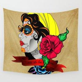 gypsy sugar skull Wall Tapestry