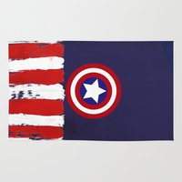 """steve rogers Area & Throw Rugs featuring Captain """"Steve Rogers"""" America by Some_Designs"""