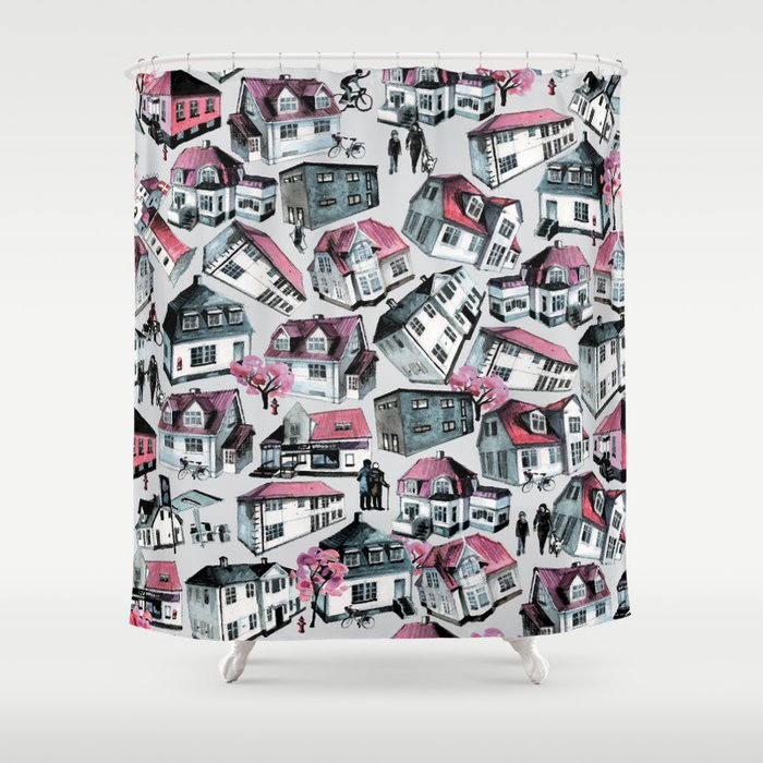 Danish small town pattern Shower Curtain