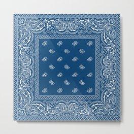 Bandana - Paisley - Southwestern - Classic Blue  Metal Print