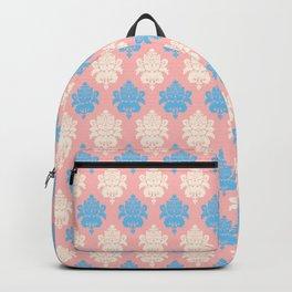 Vintage pastel coral blue ivory floral damask pattern Backpack