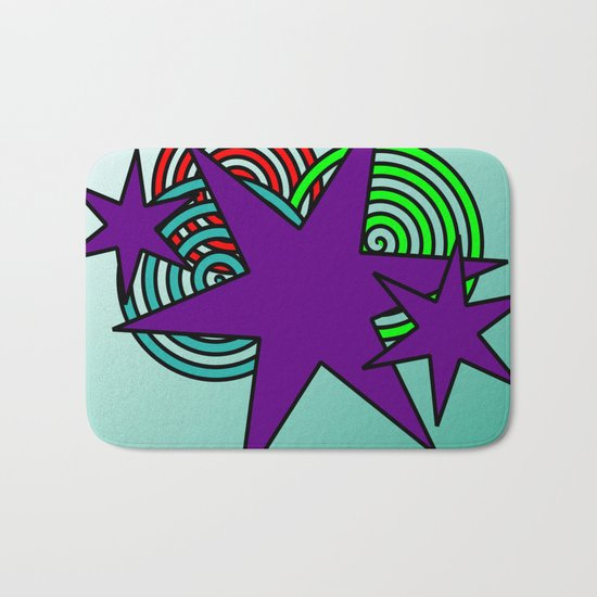 Purple Stars Bath Mat