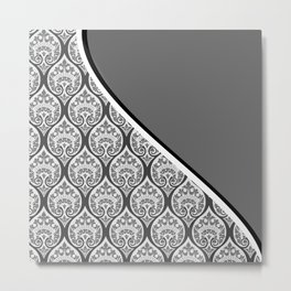 Gray Victorian Decorative Damask Pattern Metal Print