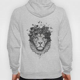 Floral lion (b&w) Hoody