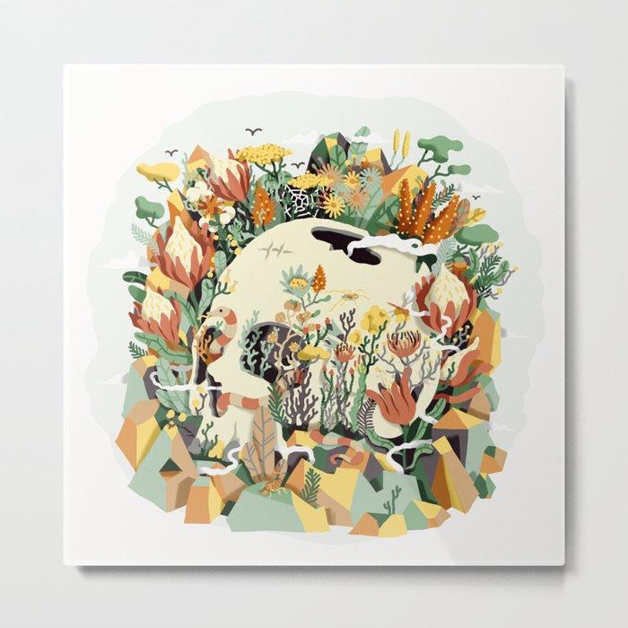 Skull & Fynbos Metal Print