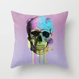 skull in purple and dripping  Throw Pillow