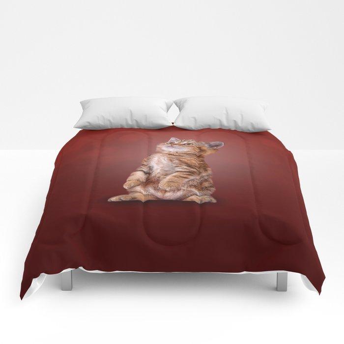 Funny kitten Comforters
