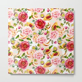 Pattern flowers and tropical fruits Metal Print
