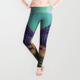 Surfing The Big Wave Searching Mermaids Leggings