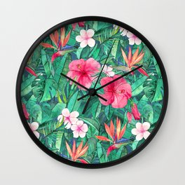 Classic Tropical Garden with Pink Flowers Wall Clock