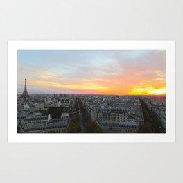 Sunset over Paris Art Print