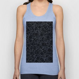Cubic B&W inverted / Lineart texture of 3D cubes Unisex Tank Top