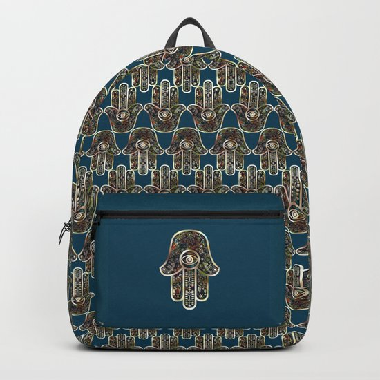 Hamsa Mosaic Pattern Backpack