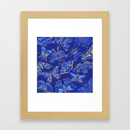 Butterfly Pattern Blue Framed Art Print