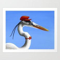 Original Animal Painting Bird ... Fancy Day Art Print