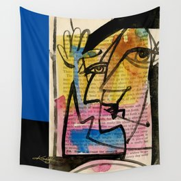 "Funky Face Abstract, ""I See 32"" by Kathy morton Stanion Wall Tapestry"