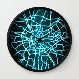 Rennes, France, Blue, White, Neon, Glow, City, Map Wall Clock