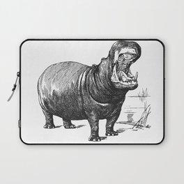 Hippopotamus black and white retro drawing Laptop Sleeve
