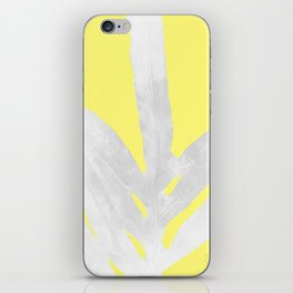 Green Fern on Lemon Yellow Inverted iPhone Skin