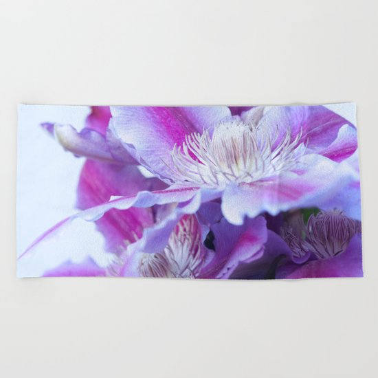 Clematis Flowers Close-Up #1 #decor #art #society6 Beach Towel