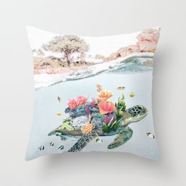 Coral Turtle • Save the Planet Throw Pillow