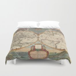 1672 World Polar Projection Map  Duvet Cover