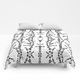 Vines Kaleidoscope (black on white) Comforters