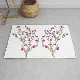 Butterfly Flower Vine Rug