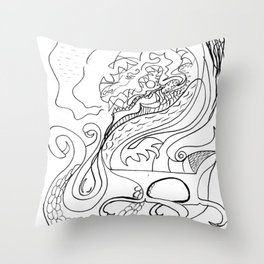 Dragon and feather Throw Pillow