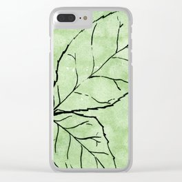Two Leaves on Green Clear iPhone Case
