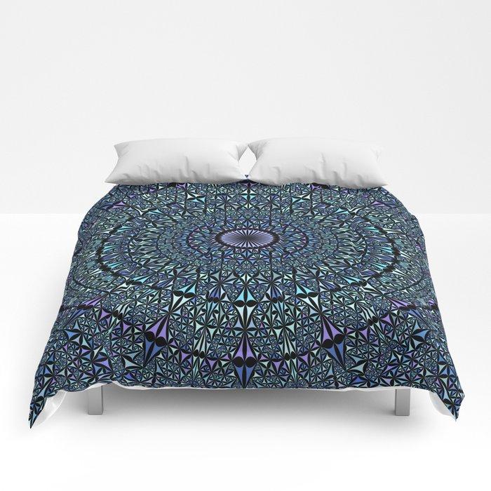 Blue Sacred Kaleidoscope Mandala Comforters