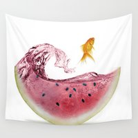 league Wall Tapestries featuring watermelon goldfish by Vin Zzep
