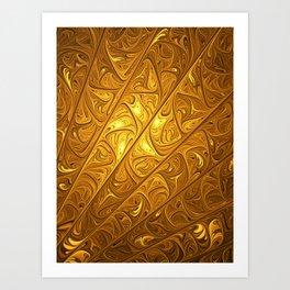 Abstract Art, Modern Fractal With Gold Art Print