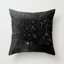 Moon Rising in the dark Black and White Throw Pillow