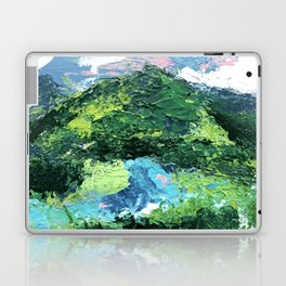 Gunnison: a vibrant acrylic mountain landscape in greens, blues, and a splash of pink Laptop & iPad Skin