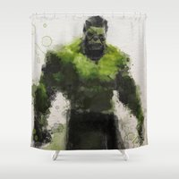 water colour Shower Curtains featuring Water Colour Hulk by Scofield Designs